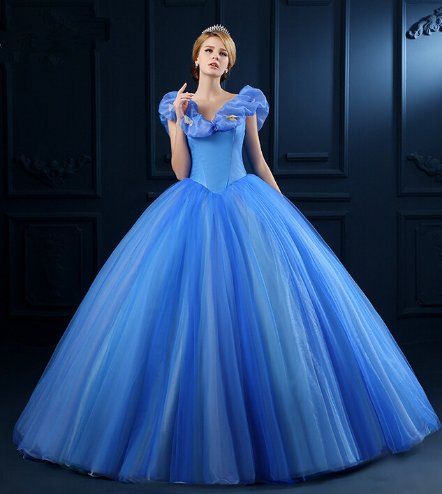 Blue princess ball gown capped sleeve v neck satin tulle floor length puffy dress in evening - Robe princesse disney adulte ...