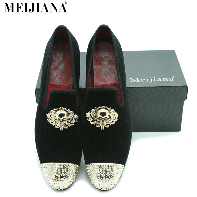 ФОТО MeiJiaNa Brand Men Shoes Loafers Flats Moccasins Slip-on Casual Business Shoes Skull metal buckle Luxury Leather