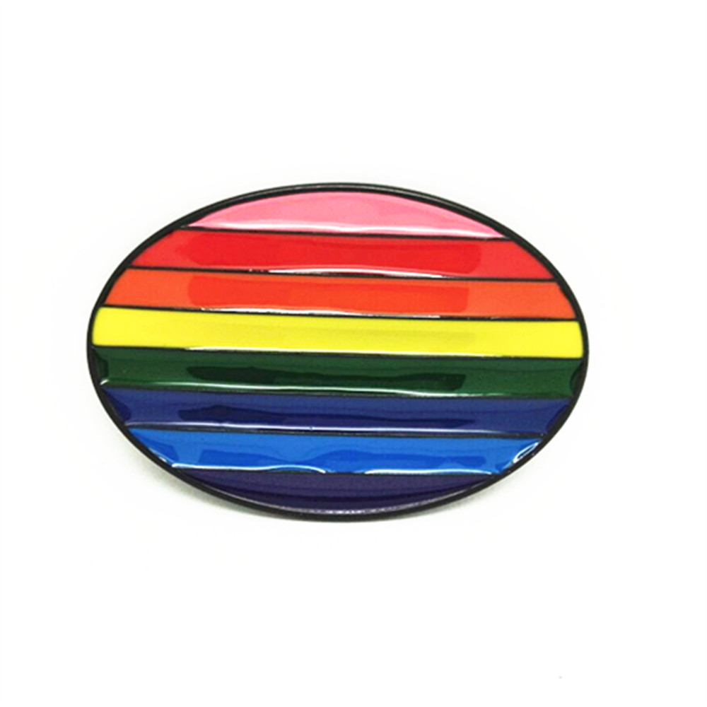 Rainbow Flag Style Color Striped Oval Metal Belt Buckle Belt Accessories