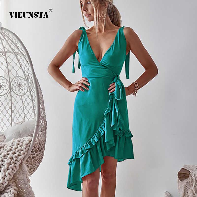 480d07b5f79 Detail Feedback Questions about VIEUNSTA Women Summer Backless Ruffle Tunic  Wrap Dress Elegant Deep V neck Lace up Strap Dresses Casual Irregular Beach  ...