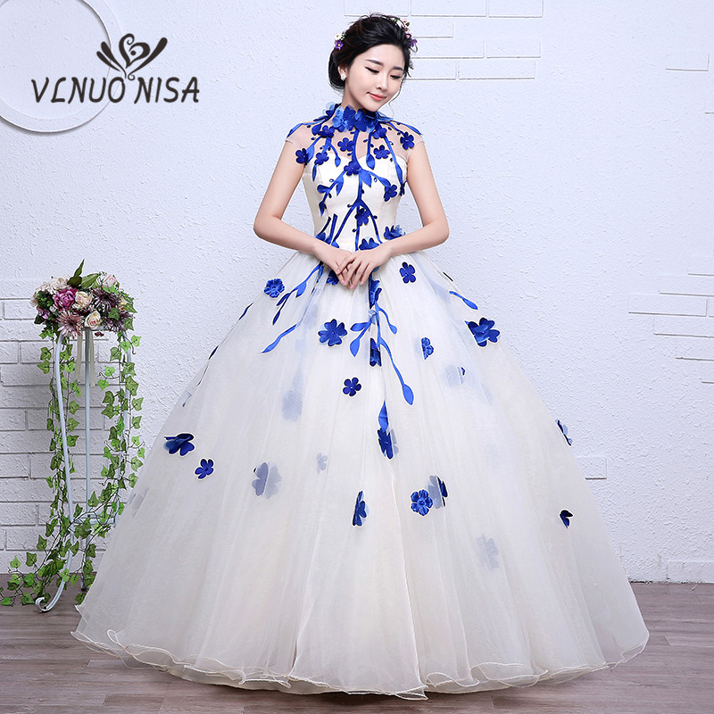 Real Photo Blue Yellow Red White Colored Wedding Dress 2018 3D Flower Lace  Ball Gown Sweet Zipper Elegant Ladies Vestido De