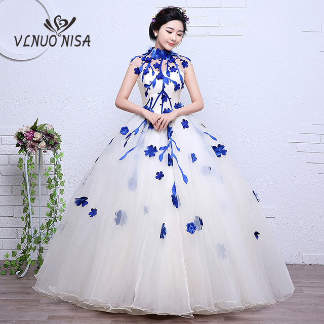 6e2ce1fce9f Real Photo Blue Yellow Red white Colored wedding Dress 2018 3D flower Lace  Ball Gown Sweet