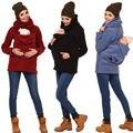 2017 Mulheres Da Forma Hoodies Bebê Vestindo Jaqueta de Lã Quente Canguru Com Capuz Grávida Zipper Exteriores Luva Longa Das Mulheres ClothingNew
