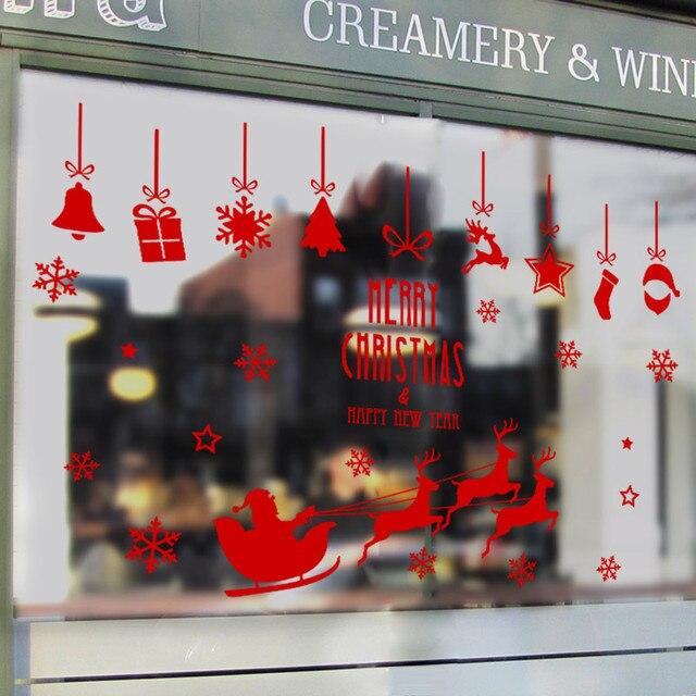 С Рождеством христовым Красный Дед Мороз Олени сани декора дома стикера стены витрине Витрина новогодние украшения росписи обоев