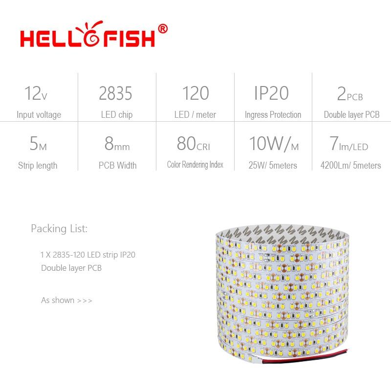 Hello Fish 5M 2835 600 SMD LED sloksne 12V elastīga120 LED gaismas - LED Apgaismojums - Foto 2