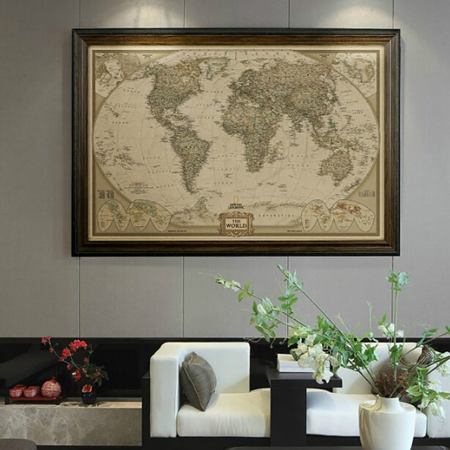 Executive World Push Pin Travel Map With Black Frame And Pins