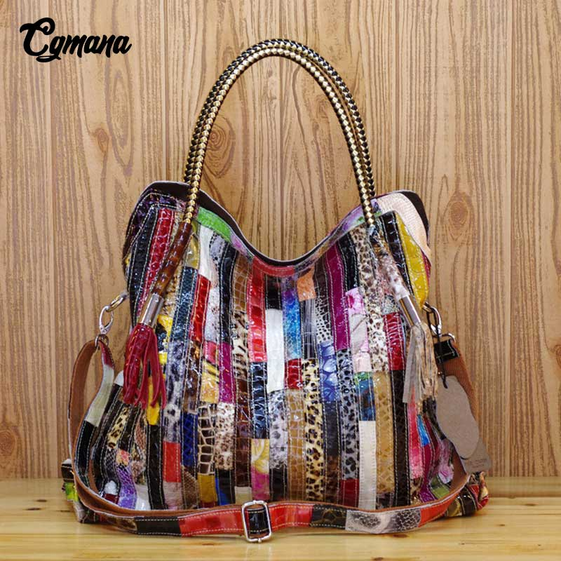 CGmana Genuine Leather Women Handbag Cowhide Serpentine Colorful Striped Stitching Handbag Large Capacity Hollow Stitching Bags