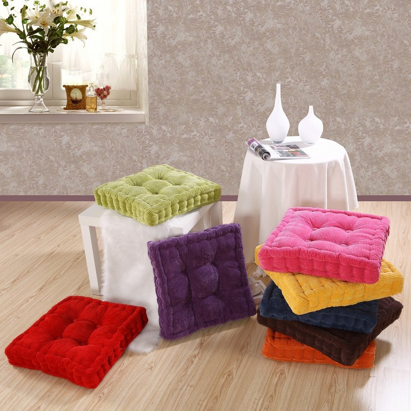 Floor Pillows With Washable Covers : SunnyRain Thick Corduroy Elastic Chair Cushions For Kitchen Chair Solid Color Seat Cushion ...