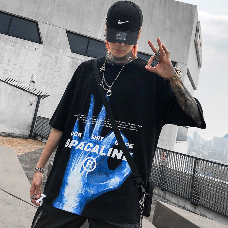Explosions 2019 Summer Tide Brand Short Sleeve  Loose Harajuku Bf Wind Men's Crew Neck Short Sleeve Shirt