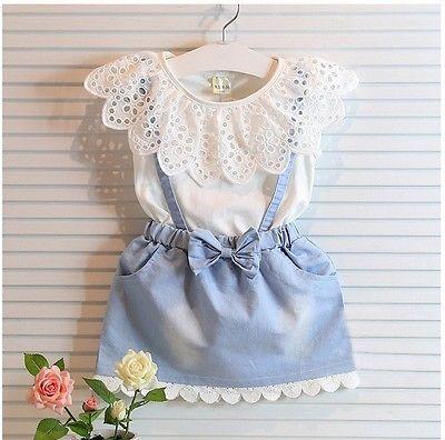 >Pudcoco <font><b>2pcs</b></font> <font><b>Toddler</b></font> <font><b>Kids</b></font> Baby Girls Summer Outfits Clothes Sleeveless Lace Cotton Tops + Denim Bow Skirt Sets 2-7Y