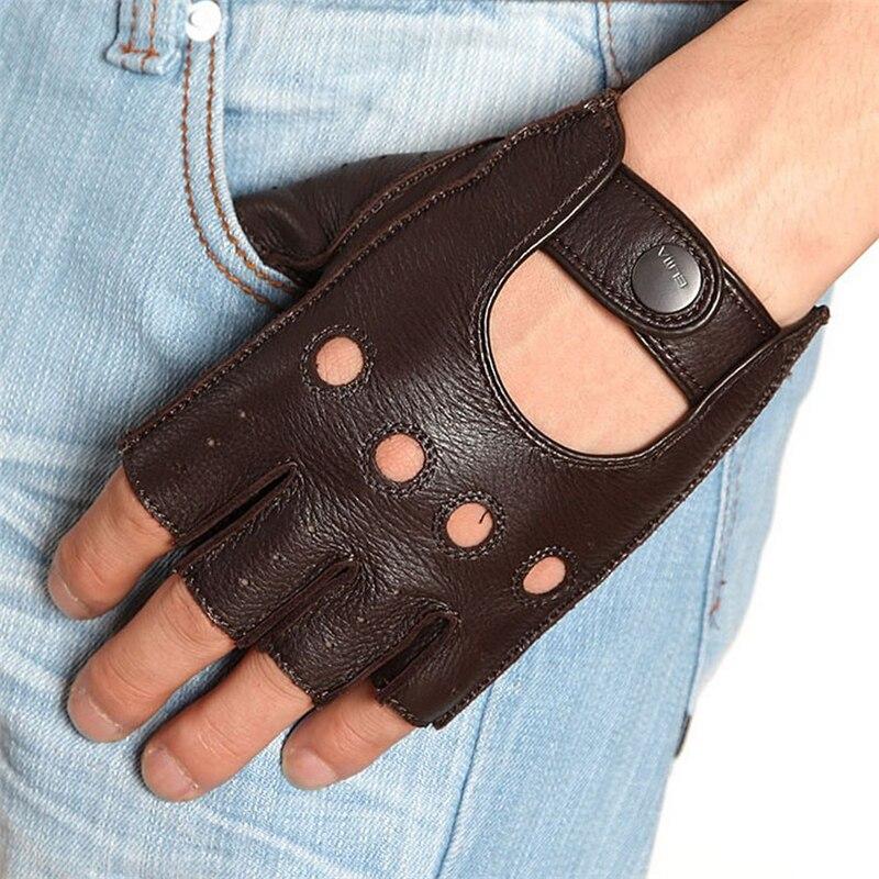 Mode Mitaines Hommes Gants En Peau De Daim Bracelet Moitié Doigt Gant de Conduite Solide Adulte Mitaines Réel Véritable En Cuir EM001W-5
