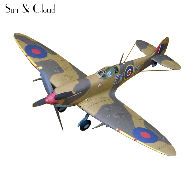 1:32 DIY 3D Supermarine Spitfire IXc Type Fighter Plane Aircraft Paper Model Assemble Hand Work Puzzle Game DIY Kid Toy