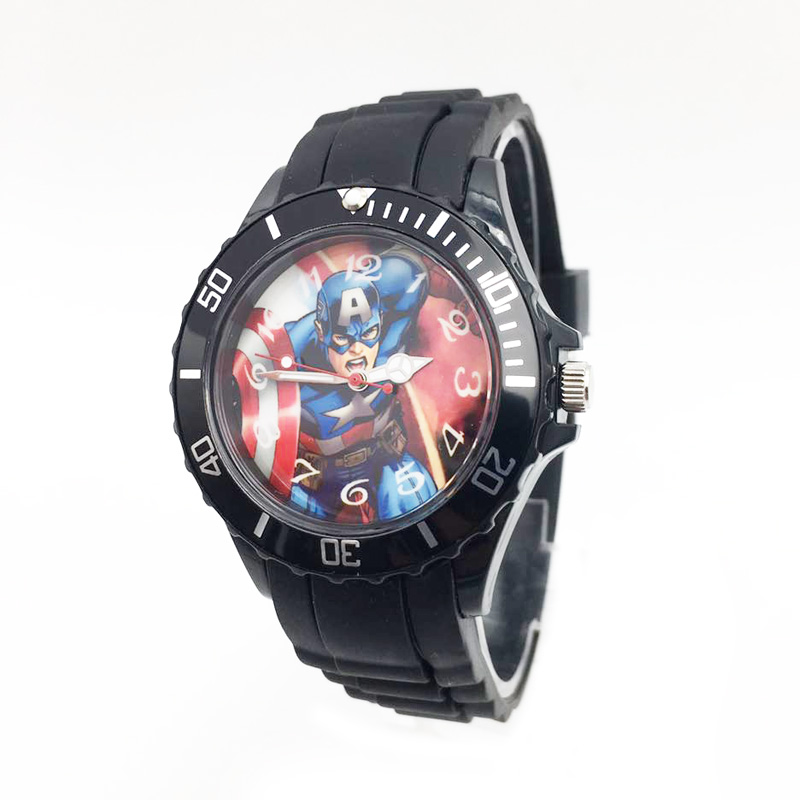 The Avenger Captain America students watches quartz wrist watch for kids cool boys clock black pu strap drop shipping (20)