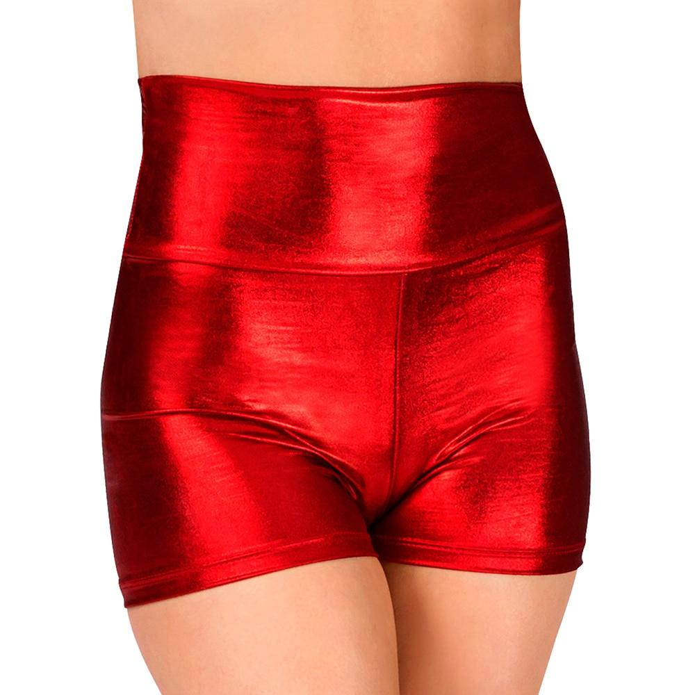 Dance shorts shiny metallic hip hop high waist  jazz holographic dance wear rave clothes pole
