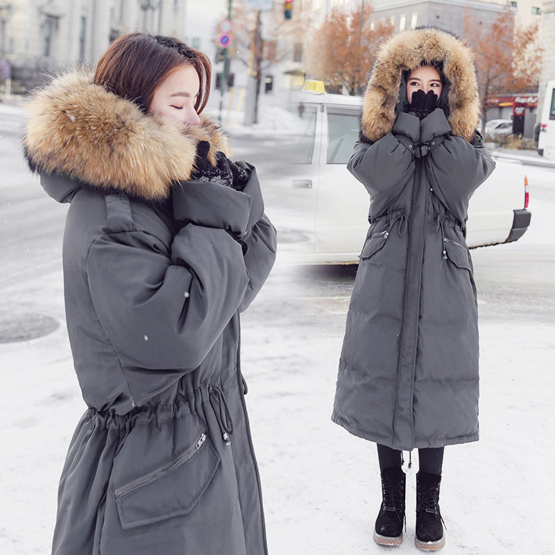 2018 Faux Fur Collar Long Parkas Down Cotton Jacket Winter Jackets Women Thick Snow Wear Hooded Coat Lady Clothing Female A1155