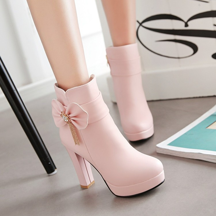 6_2016 Autumn Korean Womens Pink Dress Booties Shoes Princess Bow High Heels Black And White Platform Ankle Boots For Winter