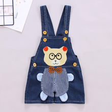 DIIMUU Summer Fashion Kids Shorts Overalls Cartoons Clothing Suspender Pants Denim Casual Jumpsuits Toddler Baby Bear