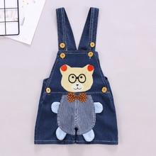 DIIMUU Summer Fashion Kids Shorts Overalls Cartoons Clothing Suspender Pants Denim Casual Jumpsuits Toddler Baby Bear
