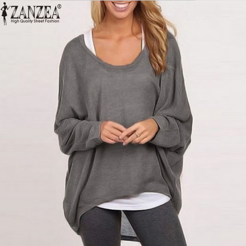 ZANZEA 2018 Sexy Tops Women Blouse Batwing Long Sleeve Casual Loose Solid Color Shirt Plus Size Blusa Femininas Plus Size S-3XL