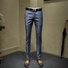 Мужские нарядные брюки, синий полосатый приталенный костюм, брюки, модная свадебная одежда для жениха, деловые Нежные мужские брюки, большой размер 36