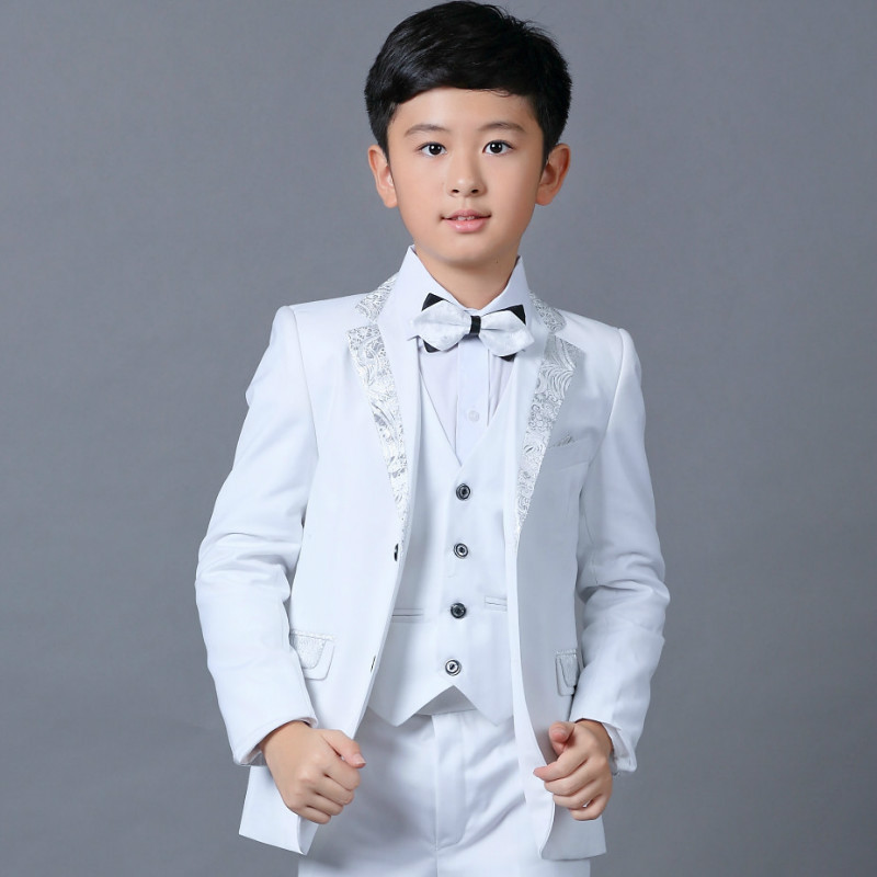 Brand Kids 5PCS Formal Suits with Bowtie Flower Boys Party Tuxedos Costume Suits New Boys White Blazer Wedding Suit Hots S83906A new fashionable men s suits new dark green men suits formal business tuxedos men wedding suit jacket pants custom