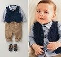 3 piezas conjunto de otoño 2015 de los niños ropa de ocio juegos de los cabritos del bebé del chaleco de traje de caballero ropa para bodas formales ropa