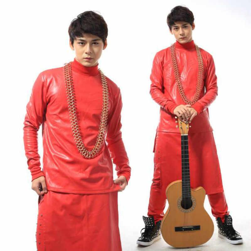 Sterne mit gleichen absatz mode persönlichkeit kostüm männer großen roten leder pullover anzug (top + pants + schürze)