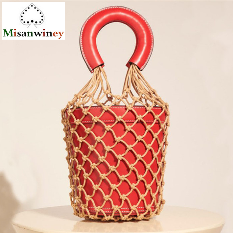 2018 Summer Luxury Show Woven Rope Grid Leather Bucket Tote Bag Fashion Women Handbag Luxury Beach Handbag Women Bag Designer black drawstring bucket woven beach bag