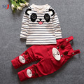 2016 Newest Baby Boys Girls T Shirt Pants 2pcs Suits Children's Clothing Set Striped Panda Bib Kids Overalls Cartoon