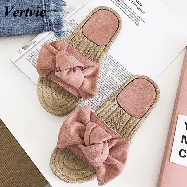 Vertvie 2019 kadın Terlik Ilmek Bayan Pembe Terlik Yaz Düz Sandalet Yaz Tatil Plaj Rahat Kapalı Ayakkabı Flip Flop