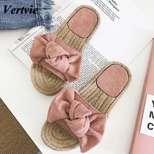 vertvie 2019 Women's Slippers Bowknot Lady Pink Slipper Summer Flat Sandals Summer Vacation Beach Casual Indoor Shoes Flip Flops