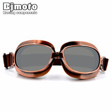 BJMOTO 2019 Motocross Goggles Glasses Copper Plated Frame Vintage Glass For Harley Open Face Helmet Goggle Retro Jet Helmets(China)