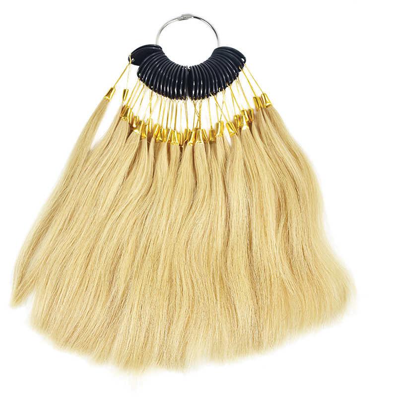 30 adet/takım 100% asya insan saçı renk halkası kartela örneği yüzük Remy saç ekleme Salon renk tasarım uygulama yüzük