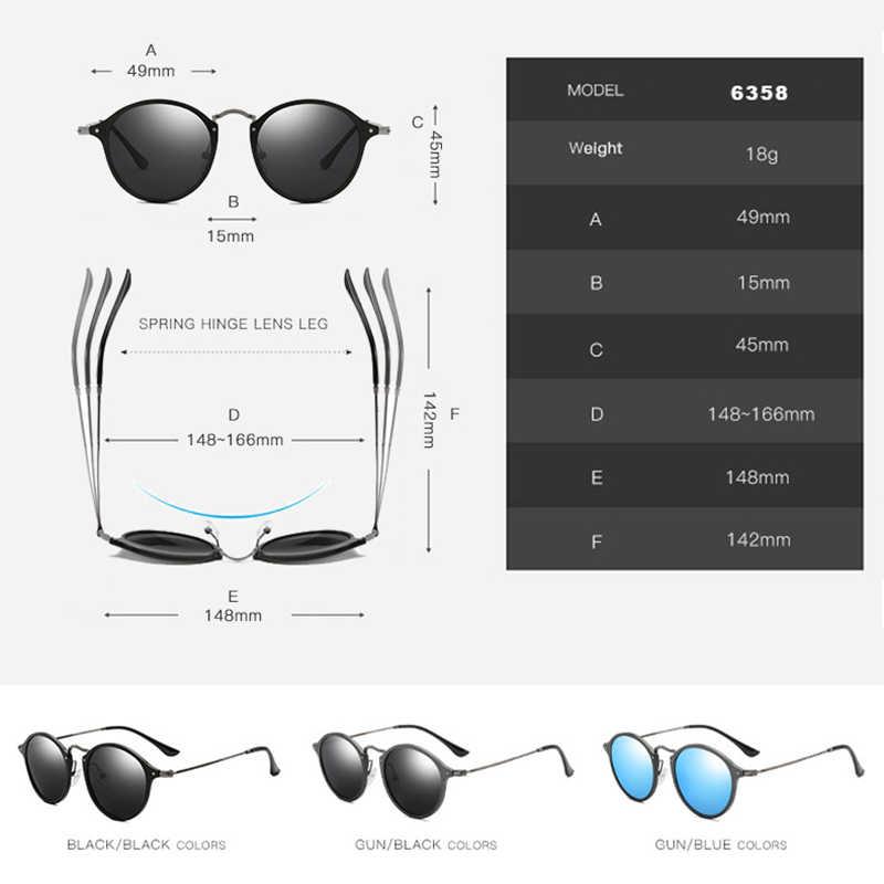 VEITHDIA แบรนด์แฟชั่น Unisex แว่นตากันแดดกระจกโพลาไรซ์เคลือบแว่นตากันแดดแว่นตาชายรอบชาย/หญิง 6358