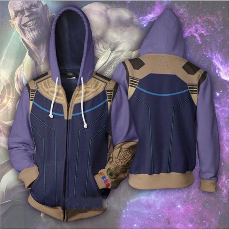 Marvel Movie Abode 3D Print Avengers 3 Infinite War cos Super Hero Hooded Zip Loose Hoodie