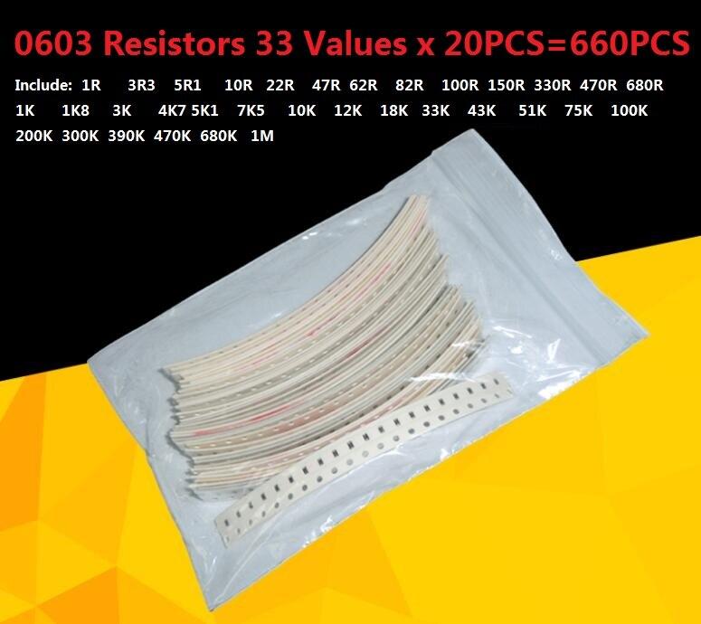200pcs 0603 Chip Résistance ± 5/% 1//10W SMD//SMT Résistance 100R 1K 10K 100K 910K