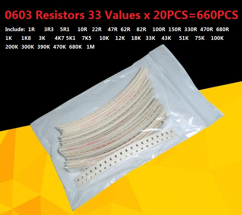 33valuesX 20pcs=660pcs <font><b>0603</b></font> <font><b>Resistor</b></font> Kit Assorted 1R to 1M ohm 5% <font><b>SMD</b></font> Sample Kit DIY 3.3R 5.1R 10R 22R 47R 62R 82R 100R <font><b>1K</b></font> 10K image