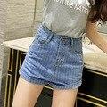 Новый Летний новый личность Высокая талия Тонкая джинсовые шорты полосой pattern Мода Синий Женщины Короткие Джинсы 25-31 S2090