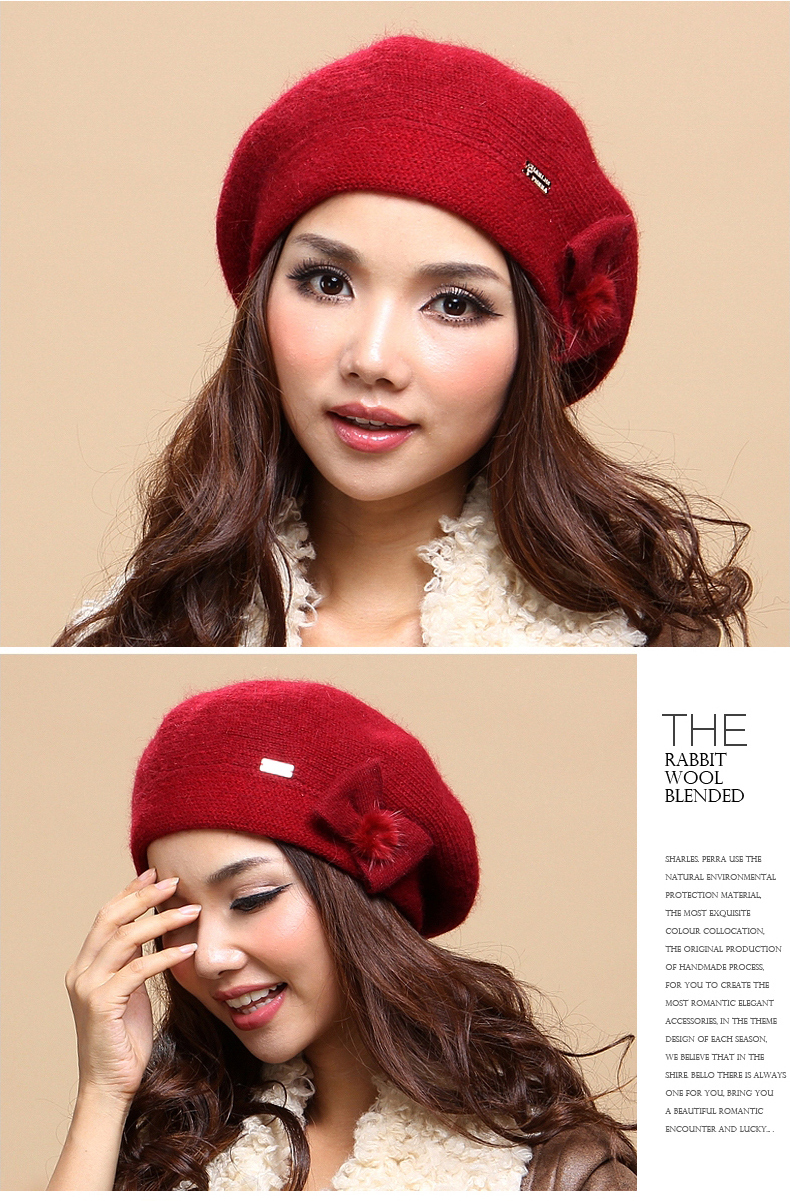 7b85705b Charles Perra Women Knitted Hats Thicken Double Layer Winter Wool Caps  Casual Elegant Lady Beret Warm Beanies Skullies 2859