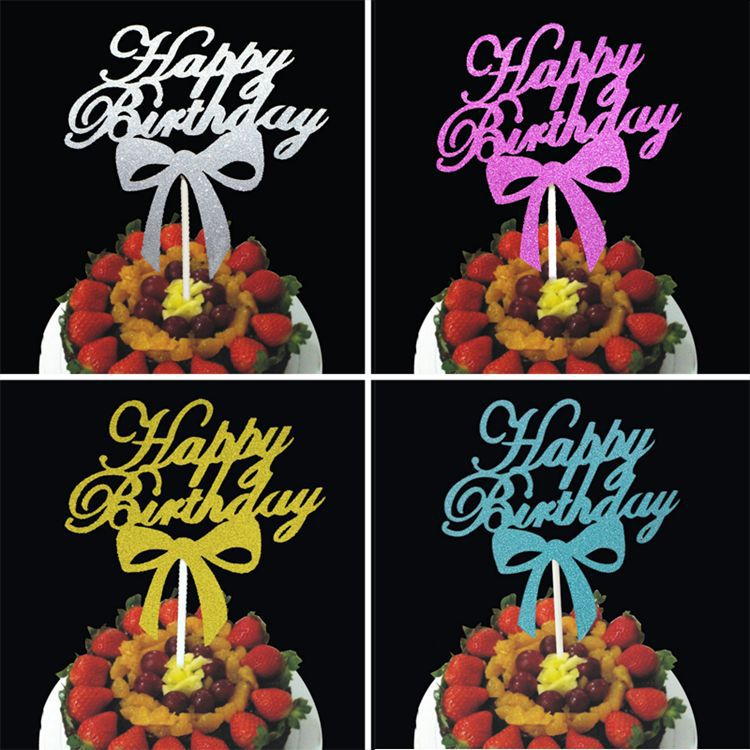 cake toppers gliter happy birthday paper cards banner for fruit Cupcake Wrapper Baking Cup tea party wedding decoration