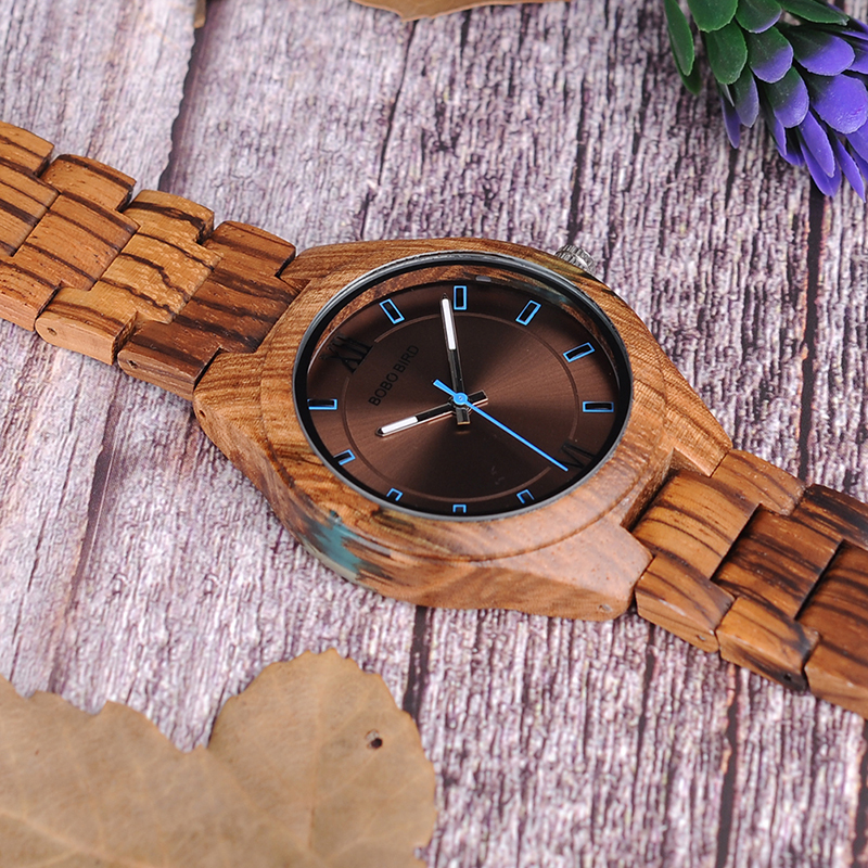 BOBO BIRD Træ ure Unique Zebrawood og Resin Conbined Case mænd - Mænds ure - Foto 3