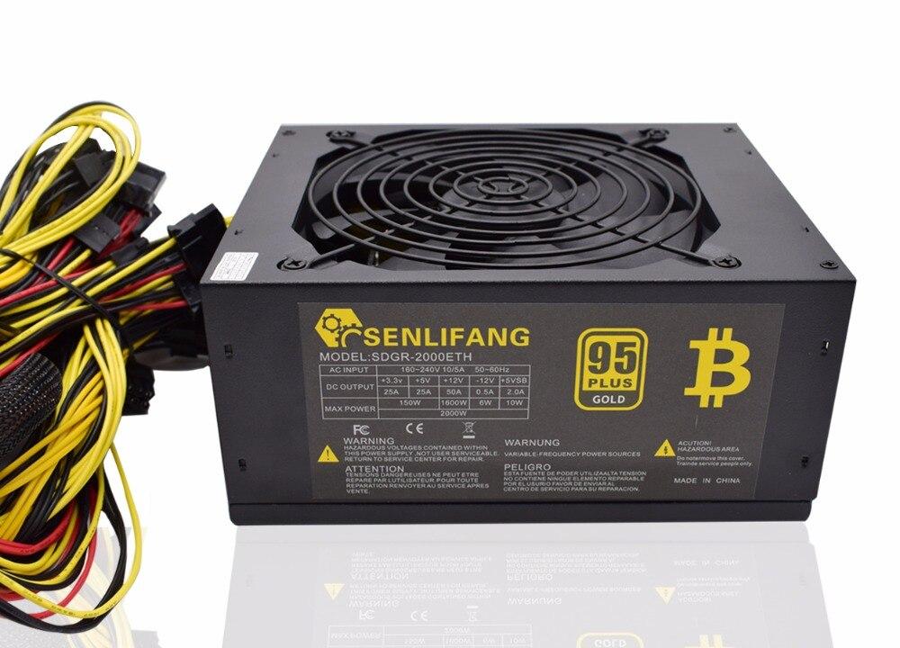 2000W Over 95 Efficiency ATX12V V2 31 ETH Coin Mining Miner Power Supply Active PFC Power