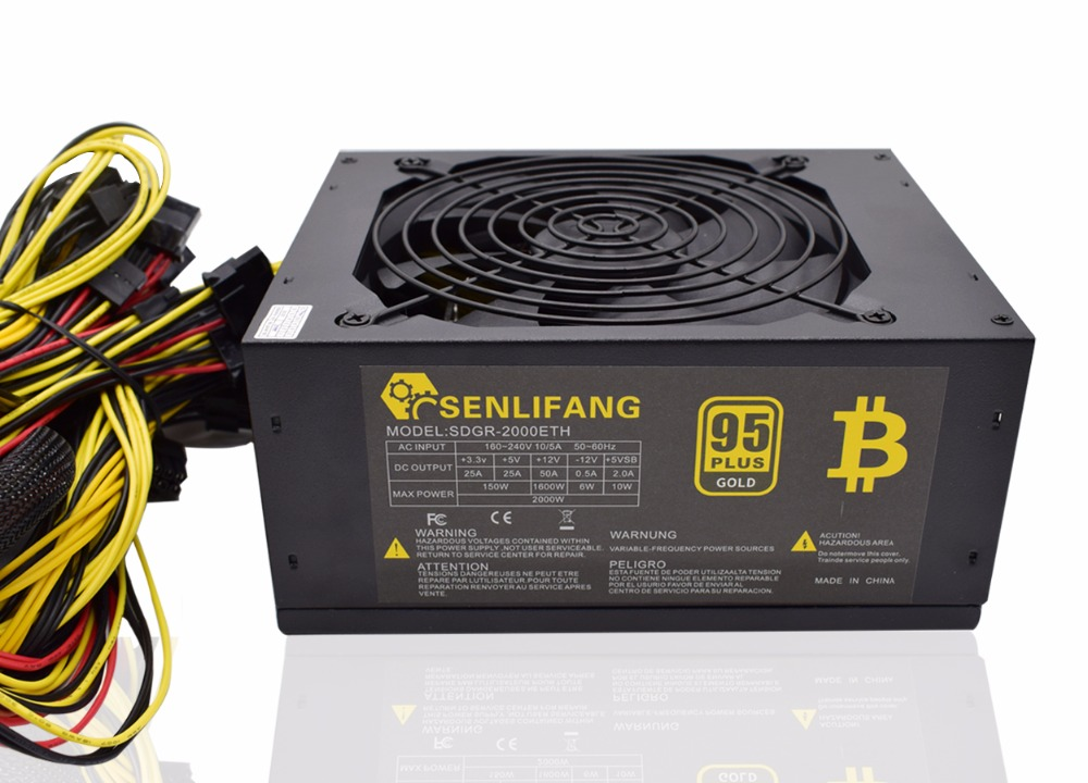 2000W Over 95 Efficiency ATX12V V2 31 ETH Coin Mining Miner Power Supply Active PFC Power