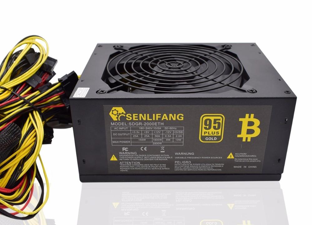 2000 W más de 95% de eficiencia ATX12V V2.31 ETH moneda minería minero alimentación PFC activo para 8 gráficos tarjetas bitcoin