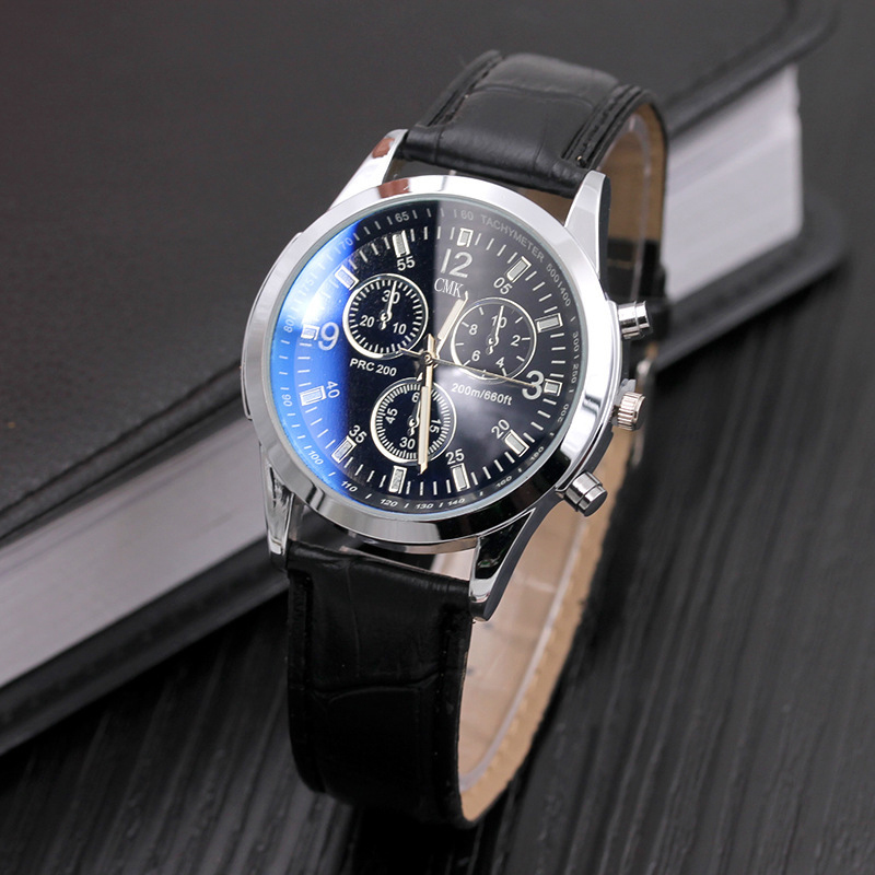 CMK New Fashion Blu ray Glass Men Watches Men Soft Leather Strap Sport Male Quartz Wristwatch Three Dial Display erkek kol saati in Quartz Watches from Watches