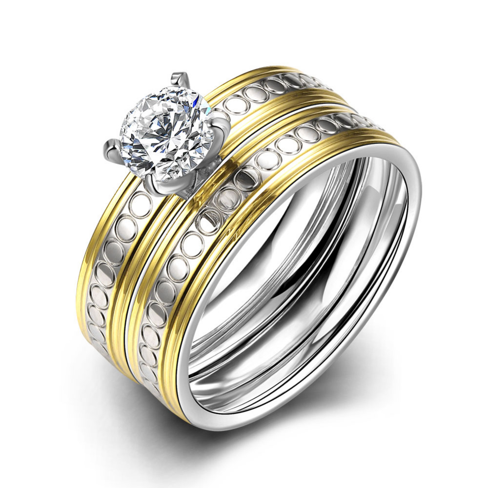 Titanium Steel Pair Rings for women men fashion unisex Zircon crystal Two-tone plated Engagement Wedding couple Ring set jewelry