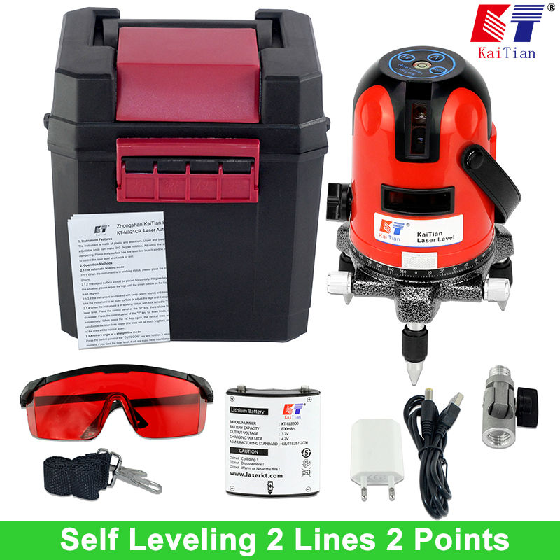 Kaitian Laser Level Battery with Slash function 360 Rotary Outdoor 635nM Self Leveling Cross 2 Lines Vertical Horizontal Lasers roberto cavalli 7251 214 502