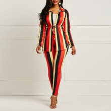 Clocolor Striped Set Women Two Piece Long Sleeve Shirt Top Pants Female Sexy Outfit