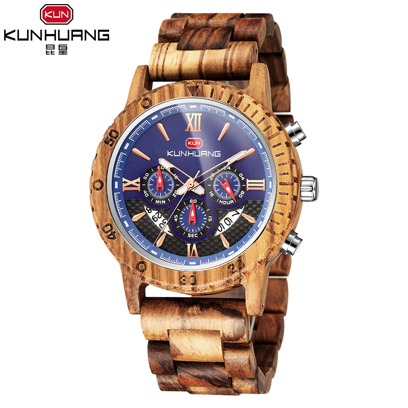 Wooden Watch Men's Kunhuang Quartz KH1014 Multi-Function Six-Pin Three-Eye New