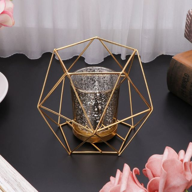 Nordic Style 3D Geometric Candlestick Metal Candle Holder Wedding Home Decor Hot 3